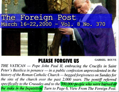 Pope John Paul II begged for forgiveness